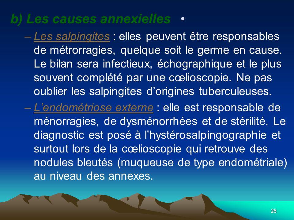 b) Les causes annexielles