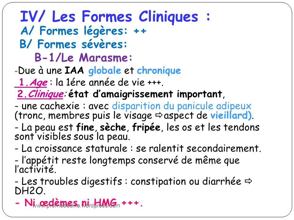 IV/ Les Formes Cliniques :