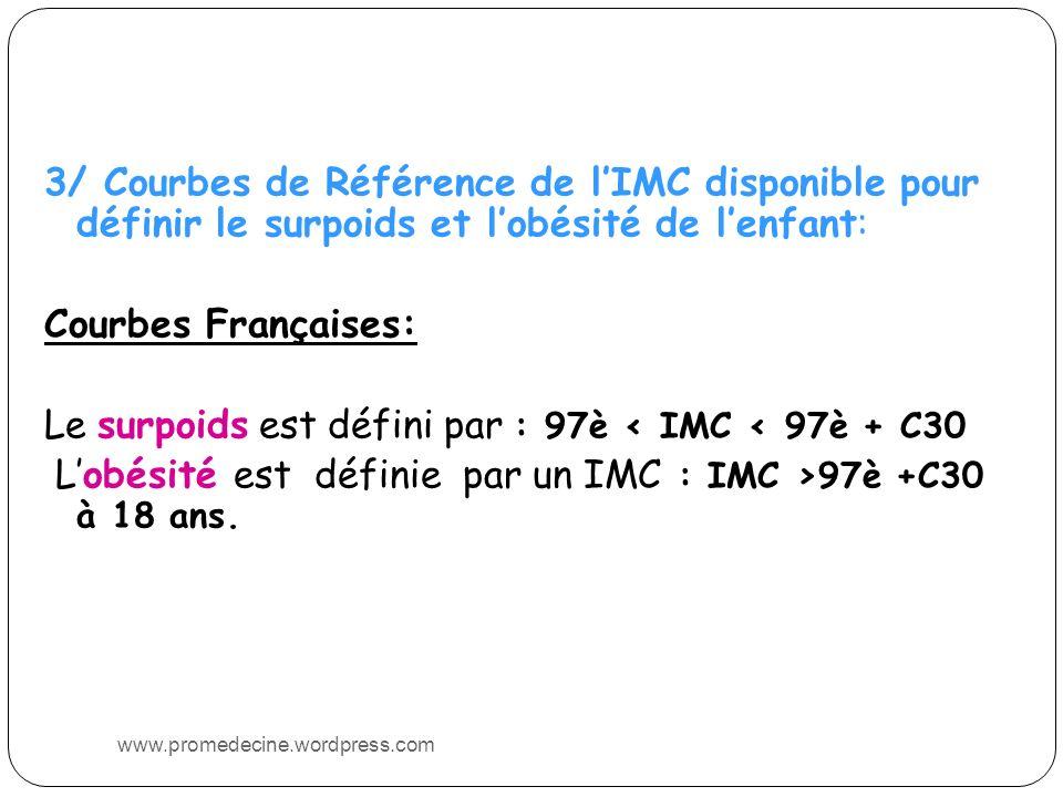 3/ Courbes de Référence de l'IMC disponible pour définir le surpoids et l'obésité de l'enfant: Courbes Françaises: Le surpoids est défini par : 97è < IMC < 97è + C30 L'obésité est définie par un IMC : IMC >97è +C30 à 18 ans.