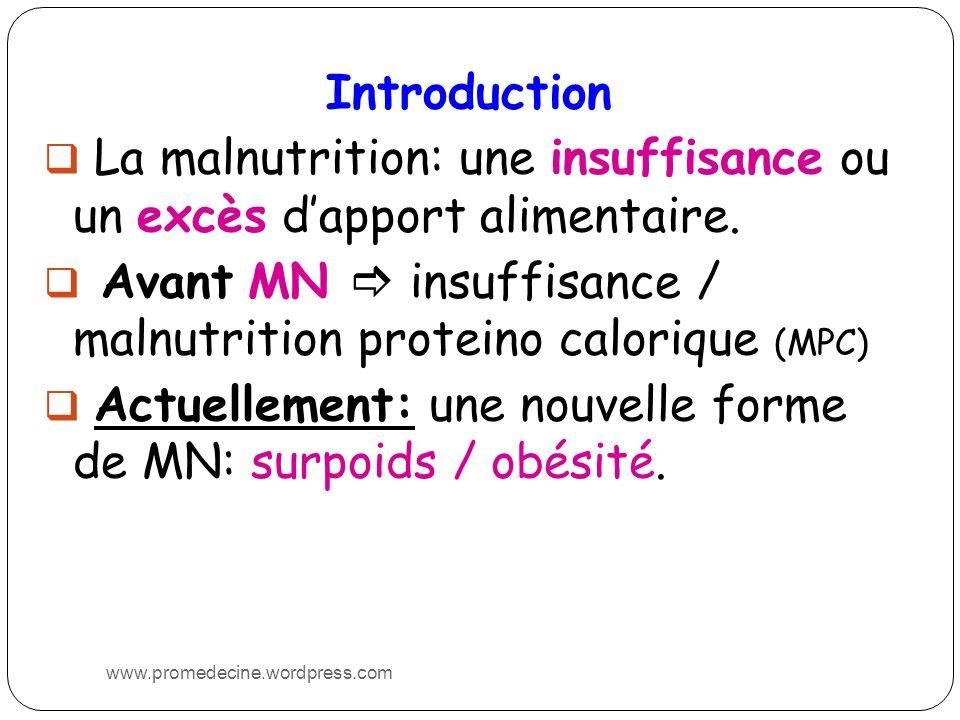 La malnutrition: une insuffisance ou un excès d'apport alimentaire.