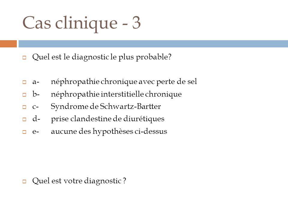 Cas clinique - 3 Quel est le diagnostic le plus probable