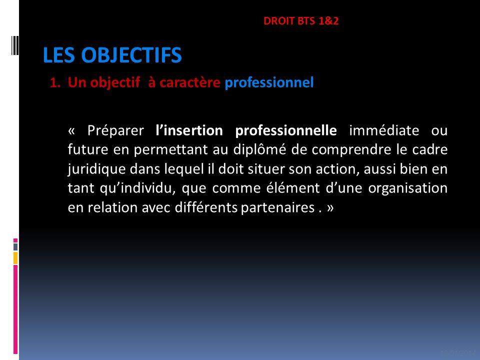 DROIT BTS 1&2 LES OBJECTIFS. Un objectif à caractère professionnel.
