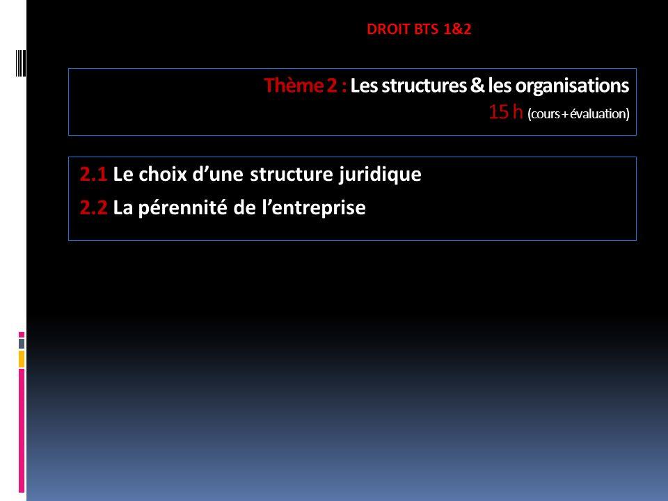 Thème 2 : Les structures & les organisations 15 h (cours + évaluation)