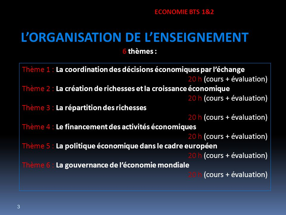 L'ORGANISATION DE L'ENSEIGNEMENT