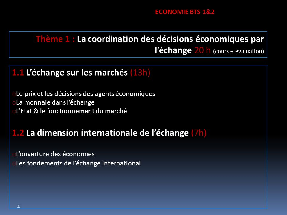 1.1 L'échange sur les marchés (13h)