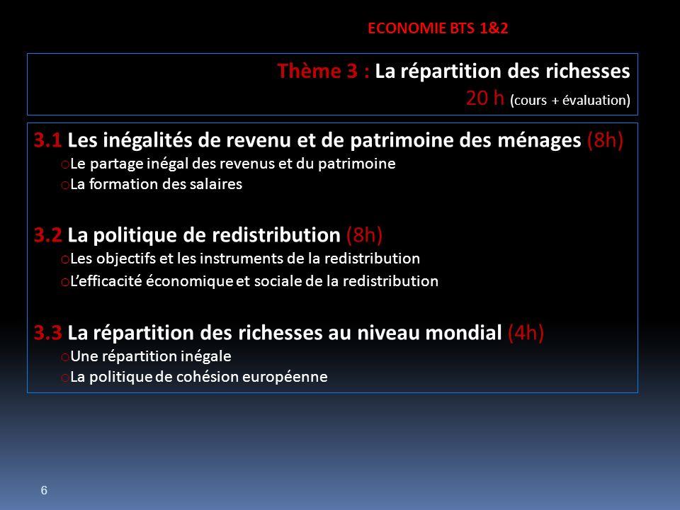 Thème 3 : La répartition des richesses 20 h (cours + évaluation)
