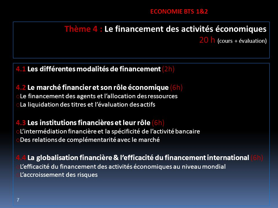 Thème 4 : Le financement des activités économiques