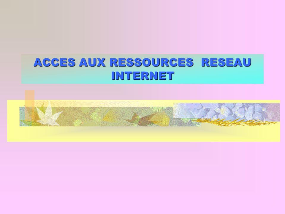 ACCES AUX RESSOURCES RESEAU INTERNET