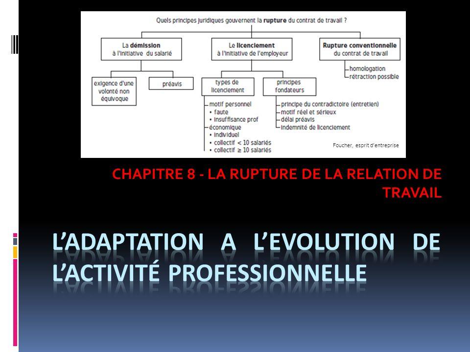 L'adaptation a l'EVOLUTION DE L'activité professionnelle