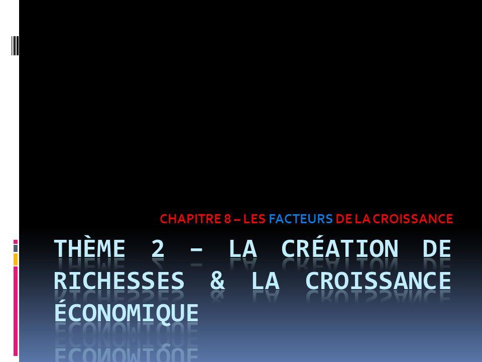 THÈME 2 – LA CRÉATION DE RICHESSES & LA CROISSANCE ÉCONOMIQUE