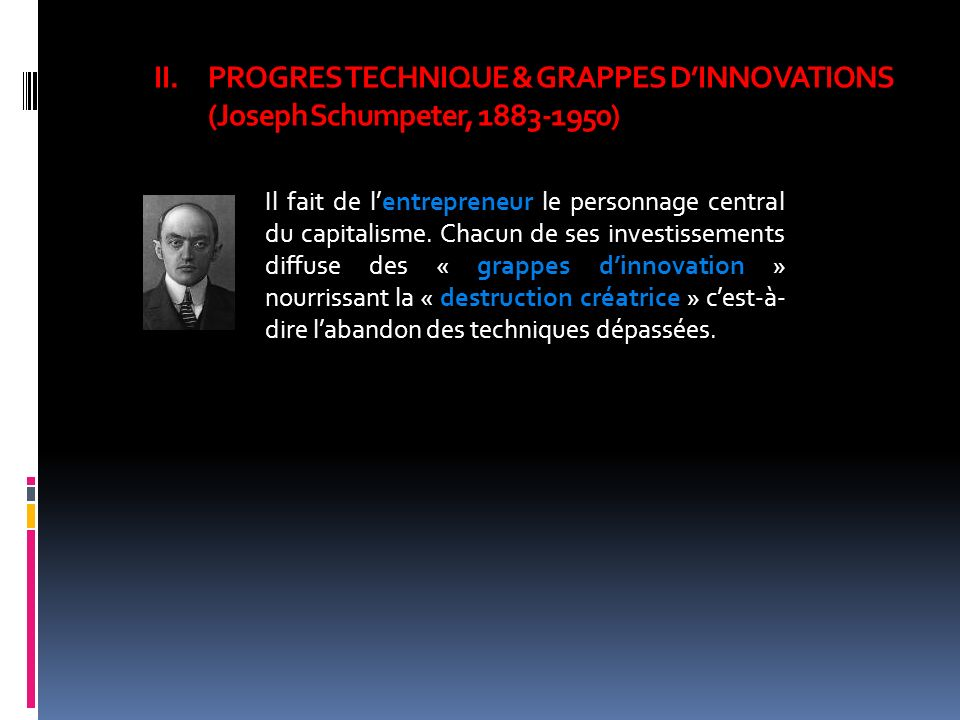 PROGRES TECHNIQUE & GRAPPES D'INNOVATIONS (Joseph Schumpeter, 1883-1950)