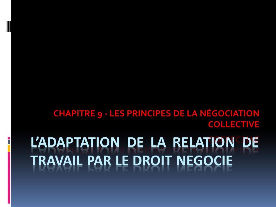 L'ADAPTATION DE LA RELATION DE TRAVAIL PAR LE DROIT NEGOCIE