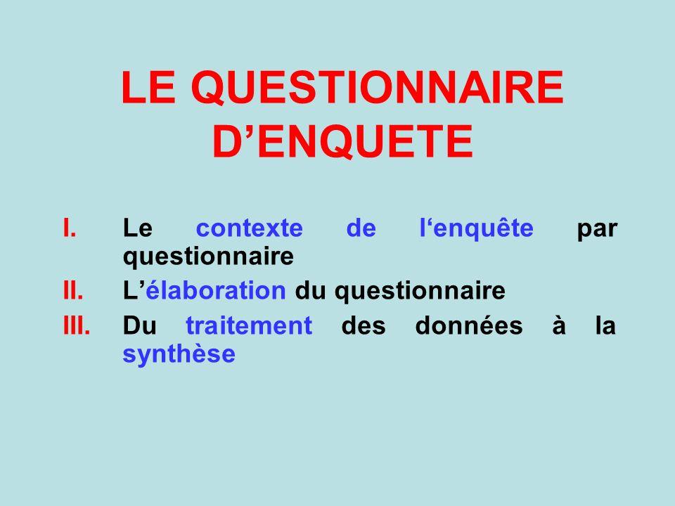 LE QUESTIONNAIRE D'ENQUETE
