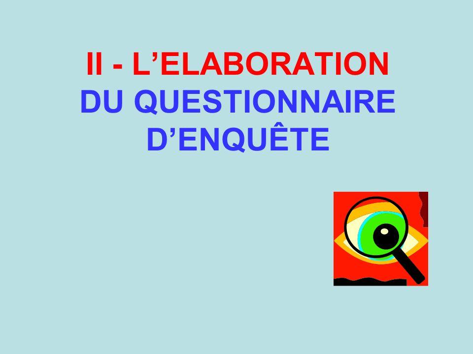 II - L'ELABORATION DU QUESTIONNAIRE D'ENQUÊTE