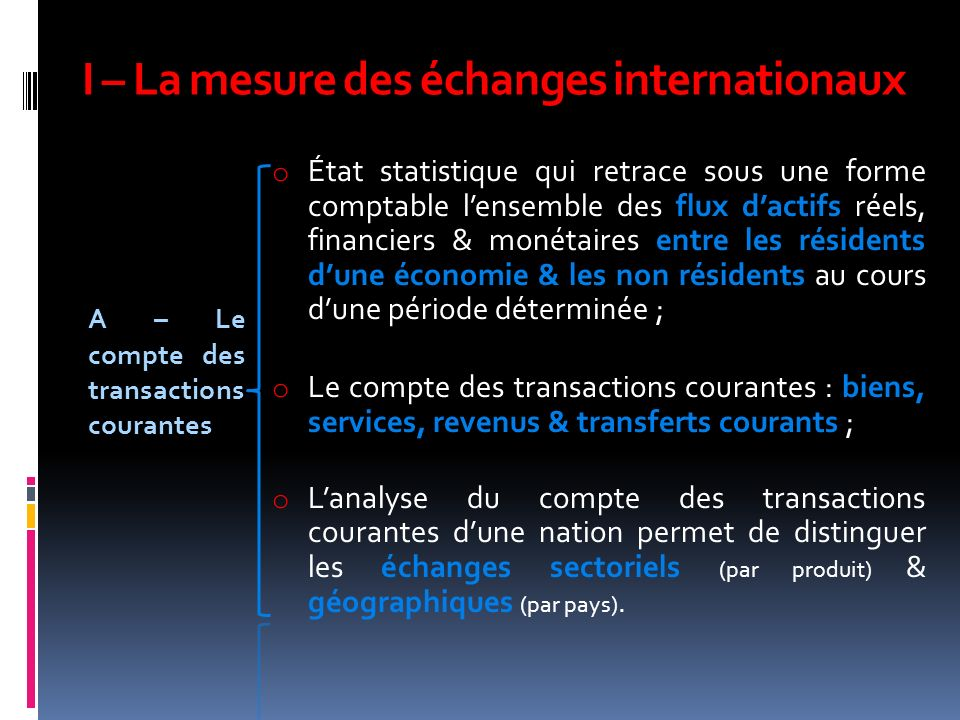 I – La mesure des échanges internationaux