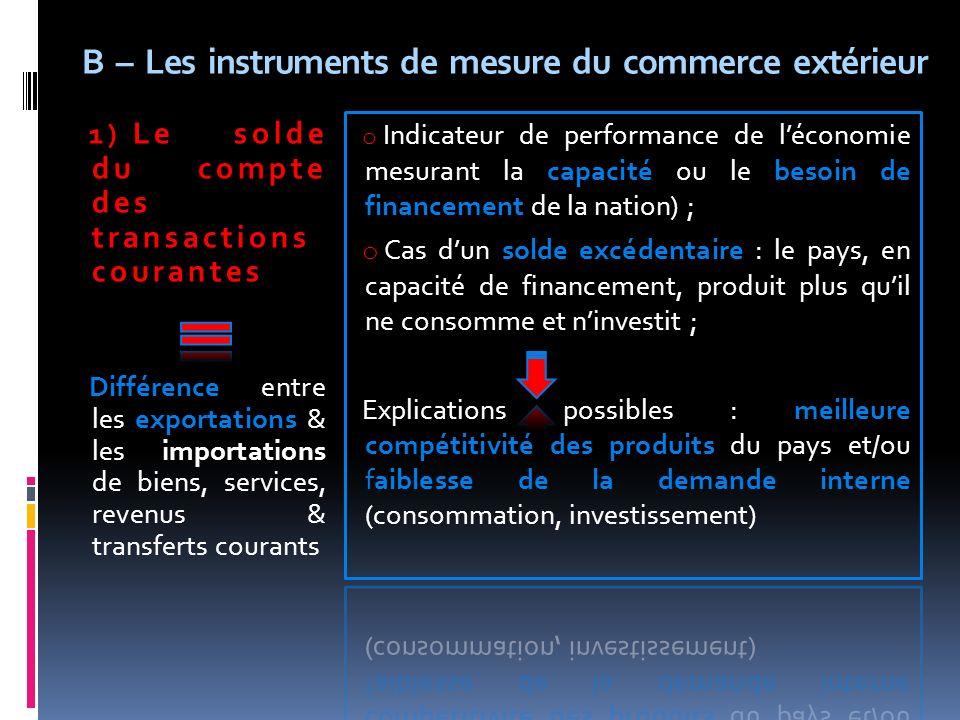 B – Les instruments de mesure du commerce extérieur