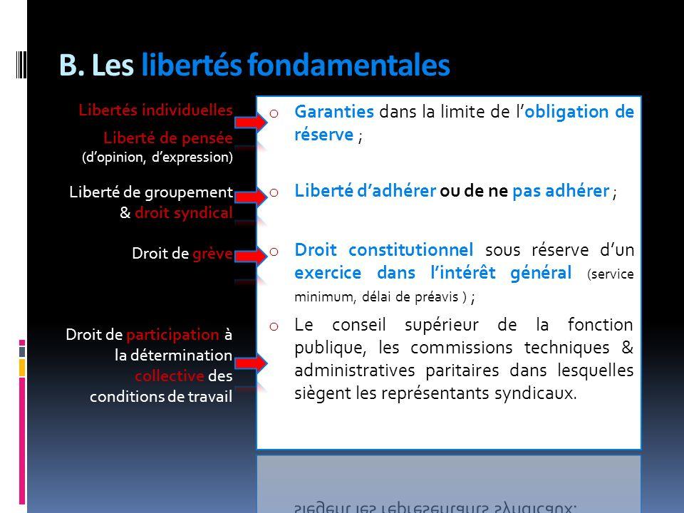 B. Les libertés fondamentales
