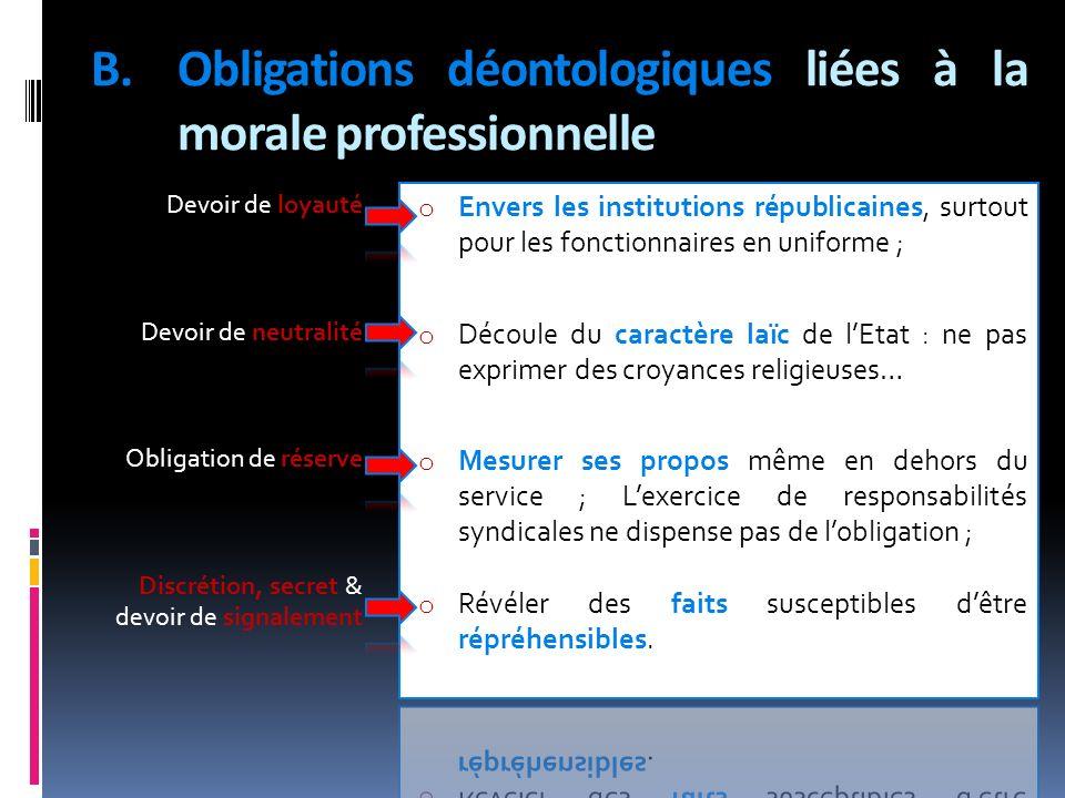 Obligations déontologiques liées à la morale professionnelle
