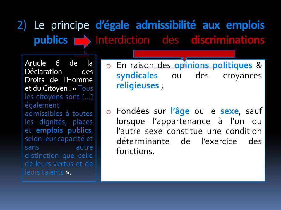 Le principe d'égale admissibilité aux emplois publics : Interdiction des discriminations