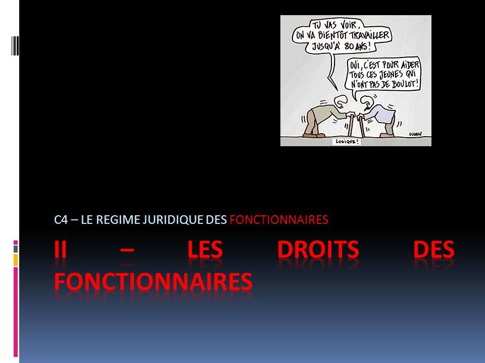 II – LES DROITS DES FONCTIONNAIRES