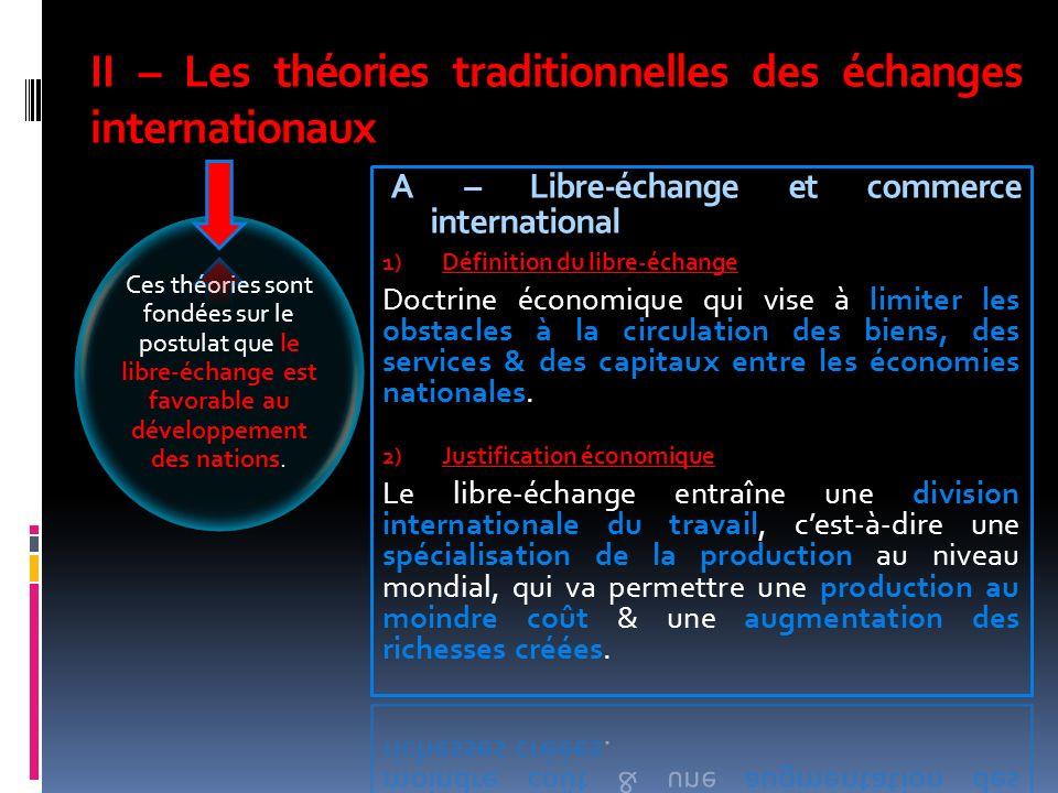 II – Les théories traditionnelles des échanges internationaux