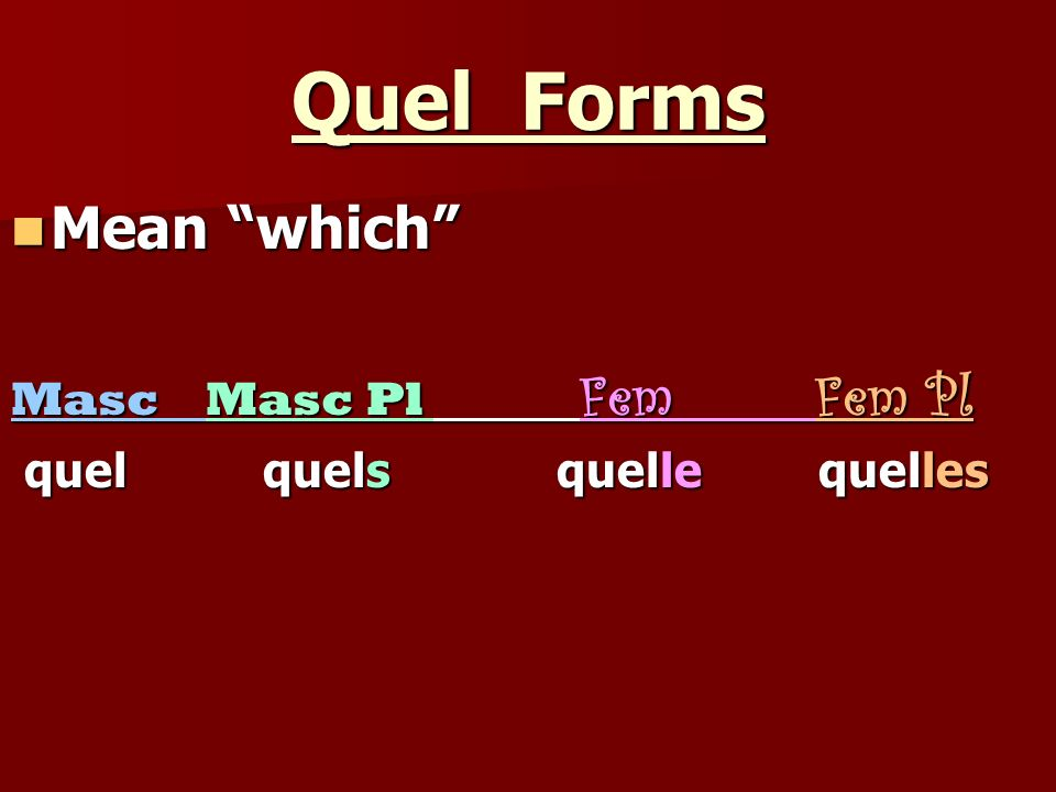 Quel Forms Mean which Masc Masc Pl Fem Fem Pl
