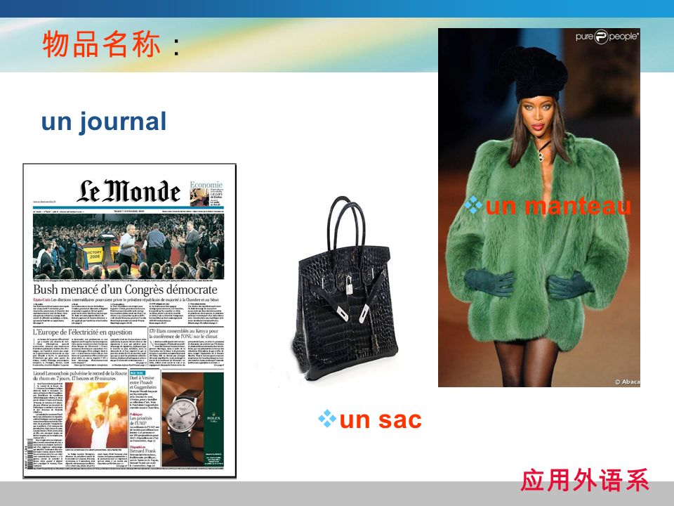 物品名称: un journal un manteau un sac 应用外语系