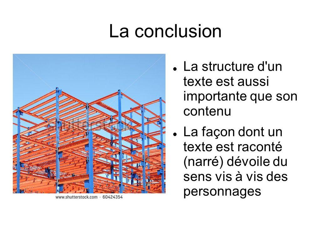 La conclusion La structure d un texte est aussi importante que son contenu.