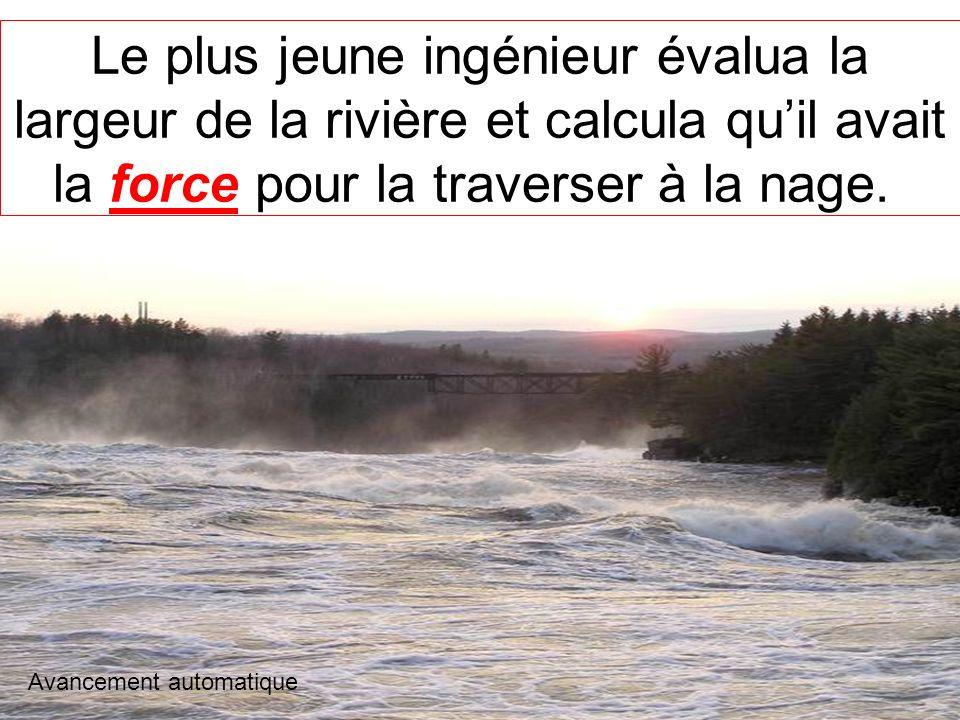 Le plus jeune ingénieur évalua la largeur de la rivière et calcula qu'il avait la force pour la traverser à la nage.