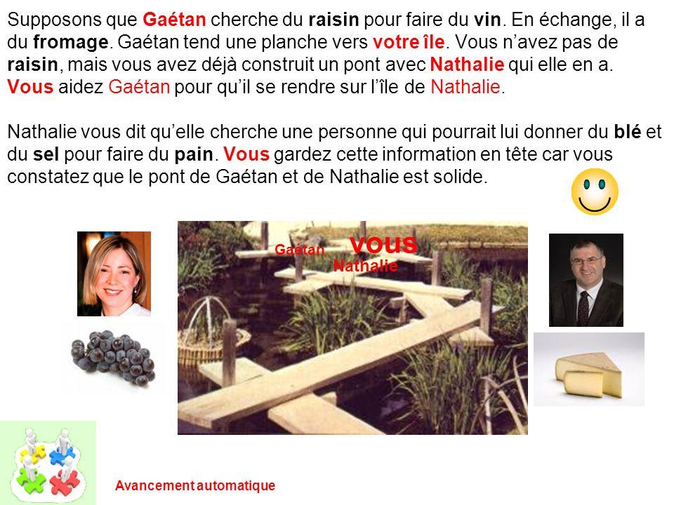Supposons que Gaétan cherche du raisin pour faire du vin