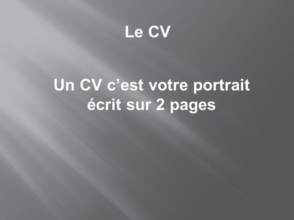 Un CV c'est votre portrait écrit sur 2 pages