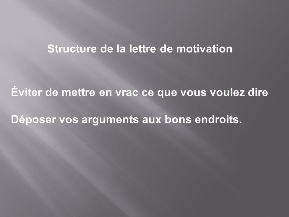 Structure de la lettre de motivation