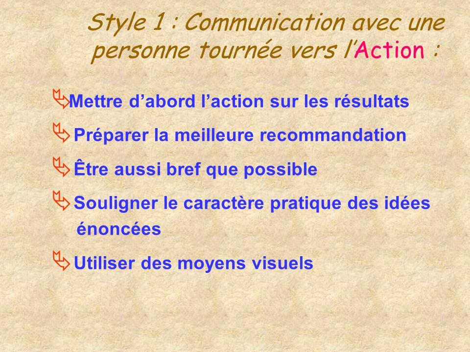 Style 1 : Communication avec une personne tournée vers l'Action :