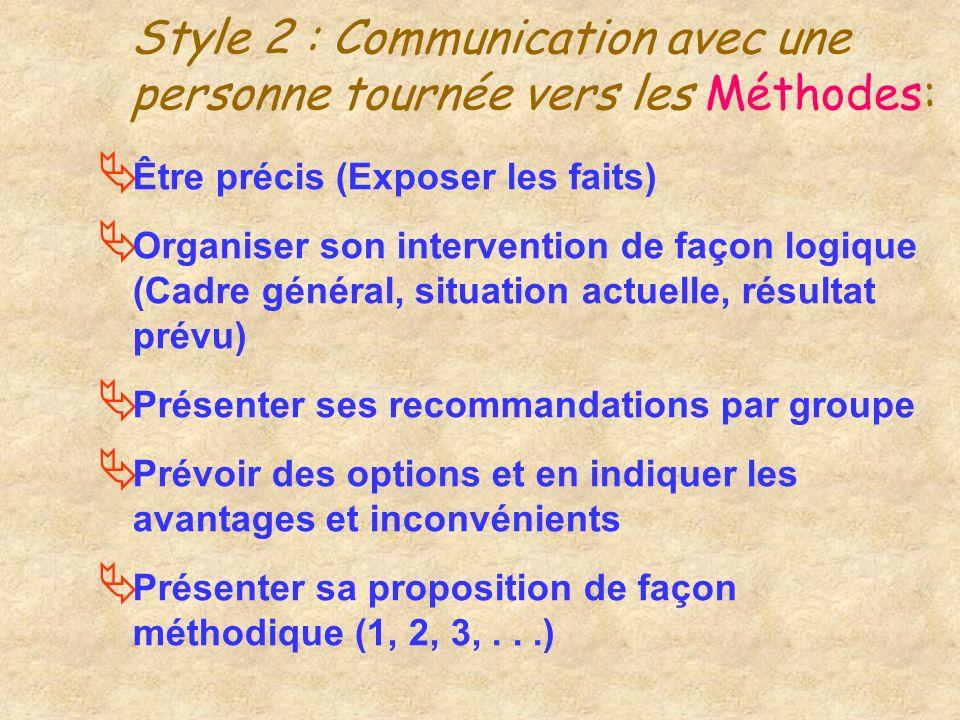 Style 2 : Communication avec une personne tournée vers les Méthodes: