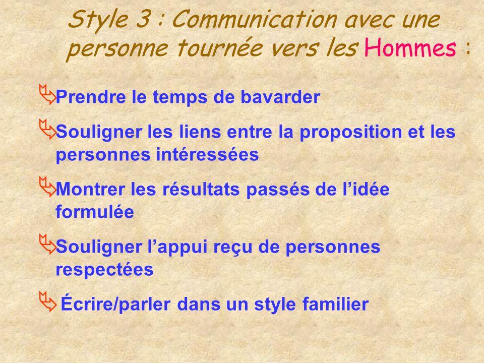 Style 3 : Communication avec une personne tournée vers les Hommes :