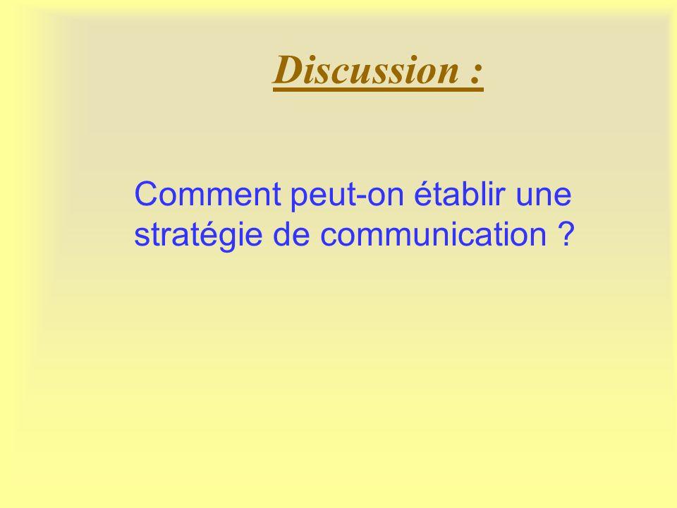 Discussion : Comment peut-on établir une stratégie de communication