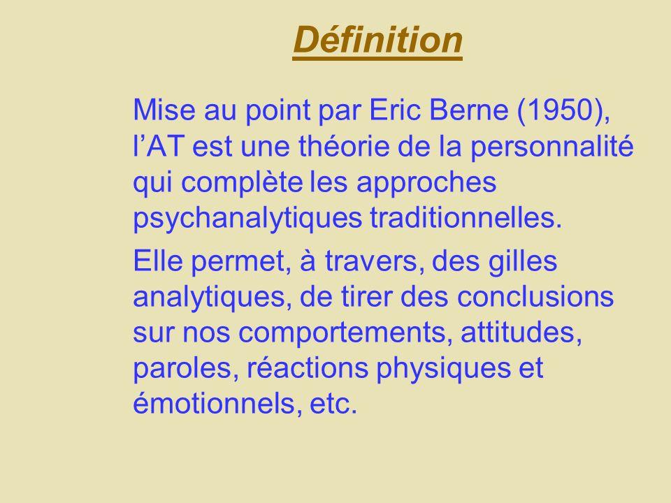DéfinitionMise au point par Eric Berne (1950), l'AT est une théorie de la personnalité qui complète les approches psychanalytiques traditionnelles.