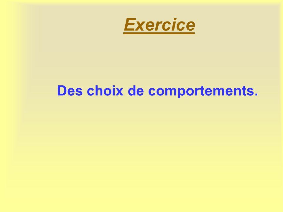 Exercice Des choix de comportements.