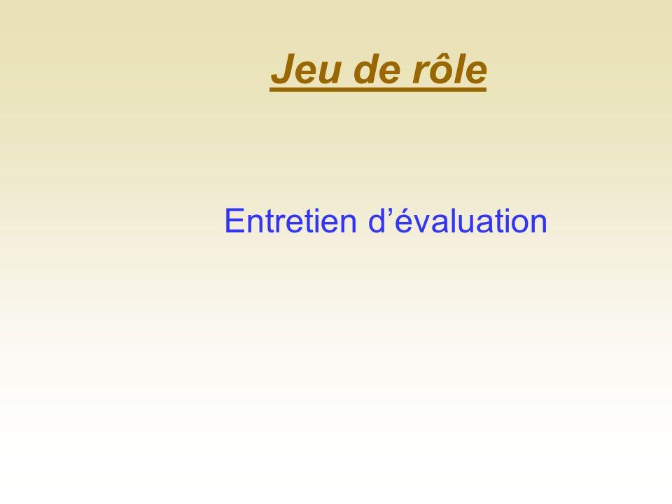 Jeu de rôle Entretien d'évaluation