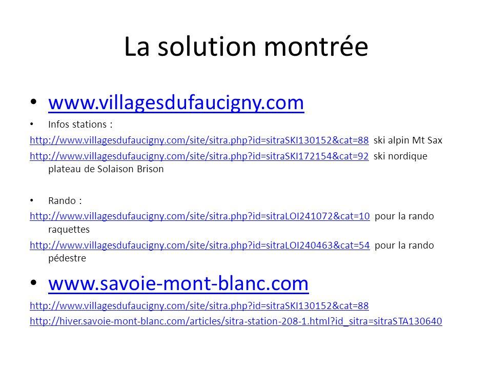 La solution montrée www.villagesdufaucigny.com