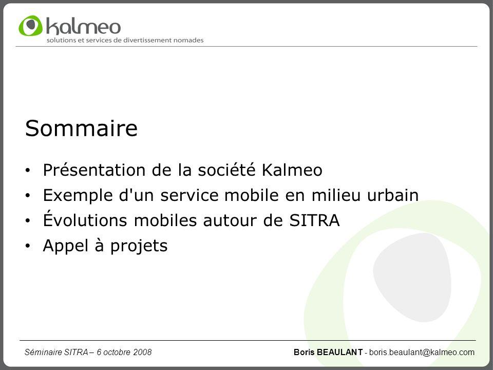 Sommaire Présentation de la société Kalmeo