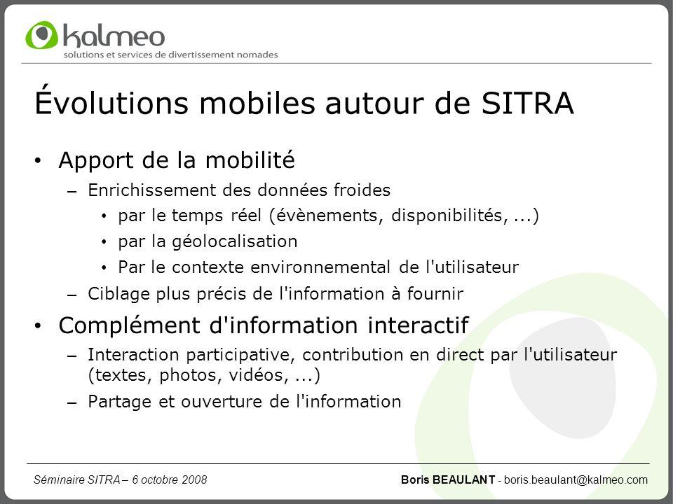 Évolutions mobiles autour de SITRA