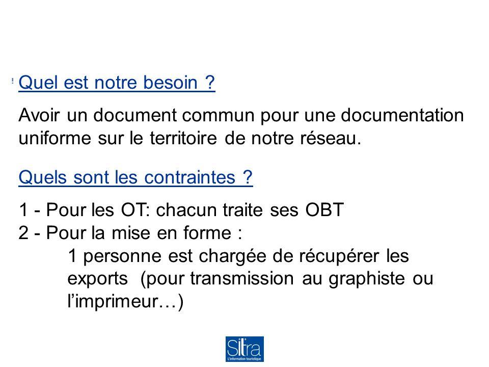 Quel est notre besoin Avoir un document commun pour une documentation uniforme sur le territoire de notre réseau.
