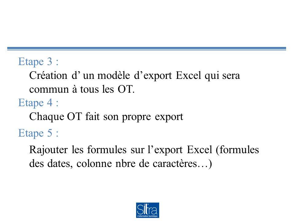 Etape 3 : Création d' un modèle d'export Excel qui sera commun à tous les OT. Etape 4 : Chaque OT fait son propre export.