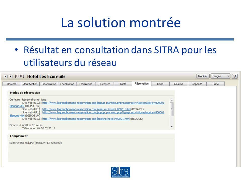 La solution montrée Résultat en consultation dans SITRA pour les utilisateurs du réseau
