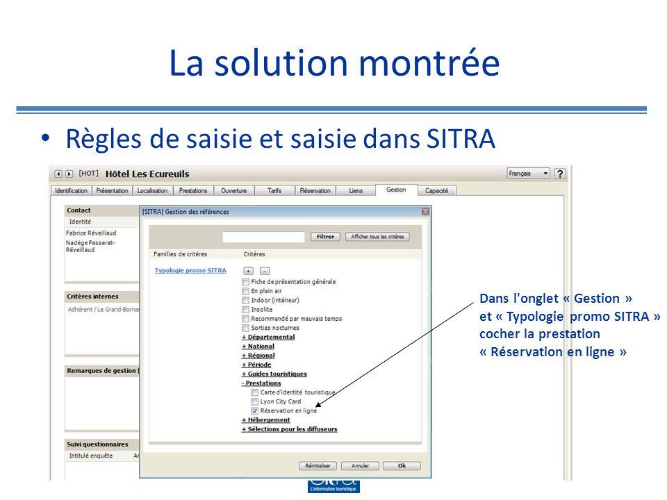La solution montrée Règles de saisie et saisie dans SITRA