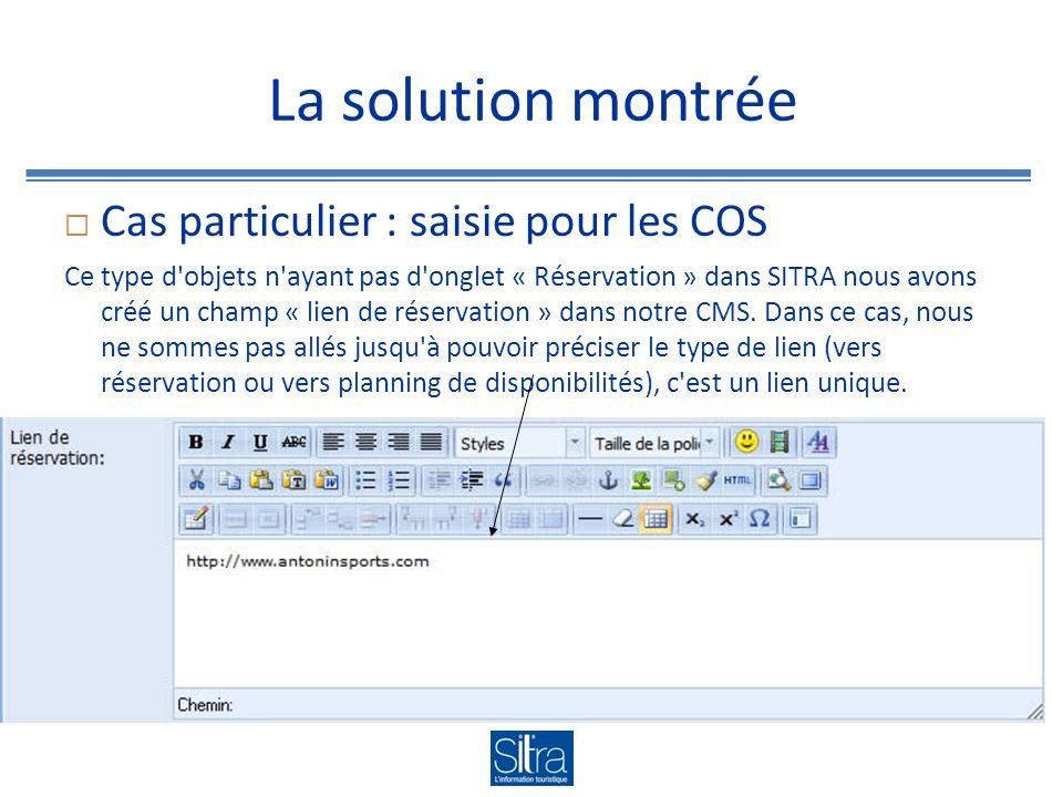 La solution montrée Cas particulier : saisie pour les COS