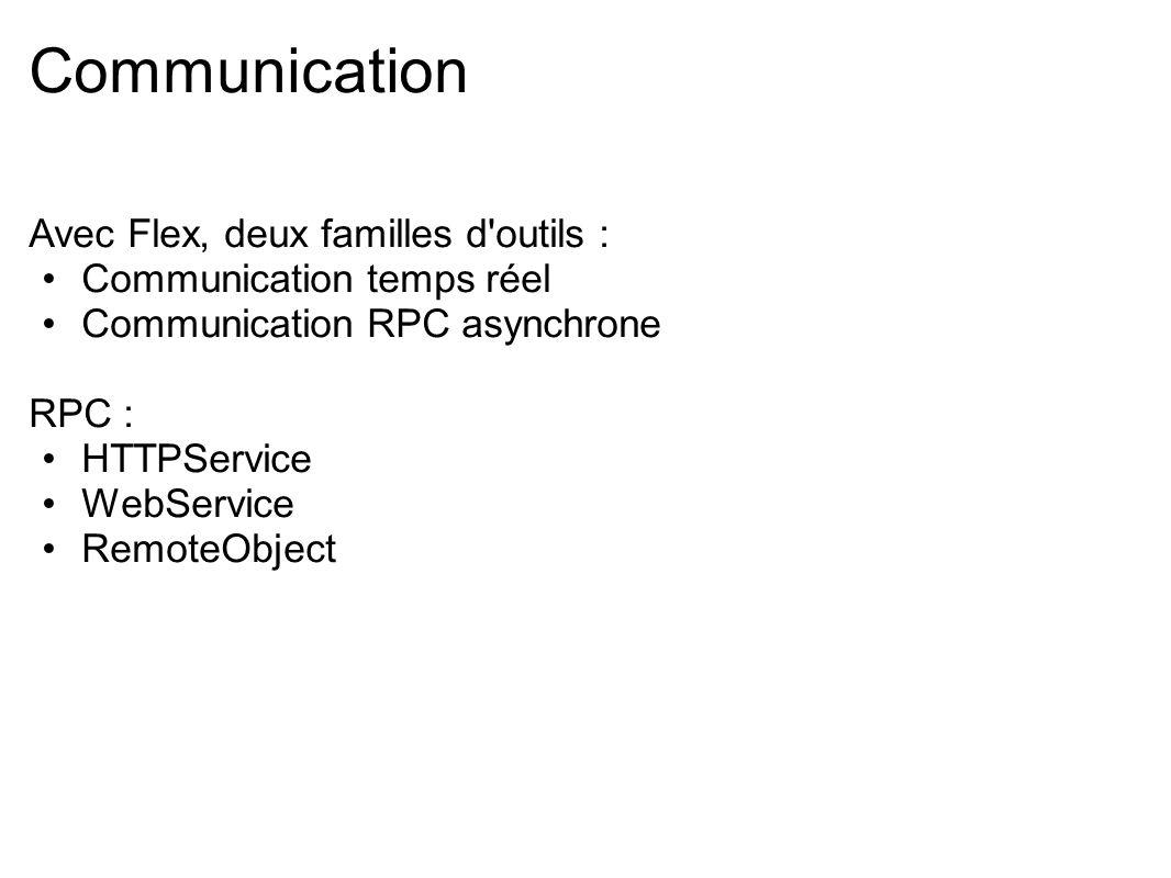 Communication Avec Flex, deux familles d outils :