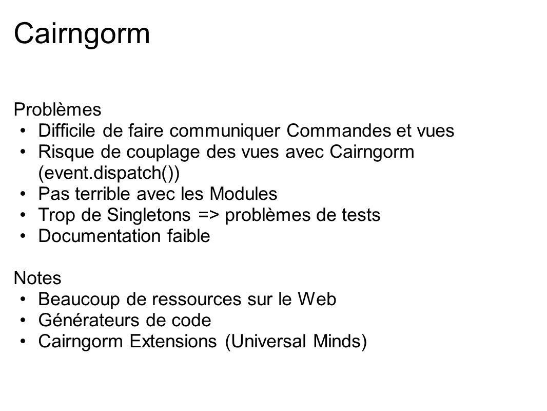 Cairngorm Problèmes Difficile de faire communiquer Commandes et vues