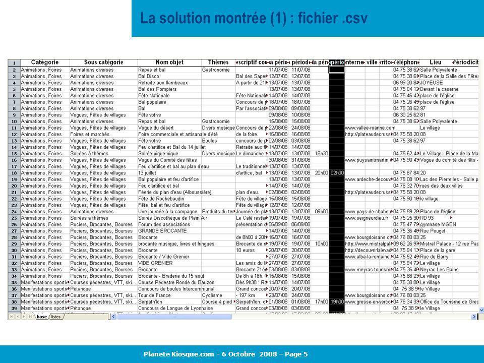 La solution montrée (1) : fichier .csv